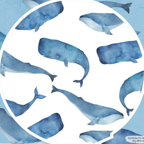 Whales White BG Roundie Play Mat Panel