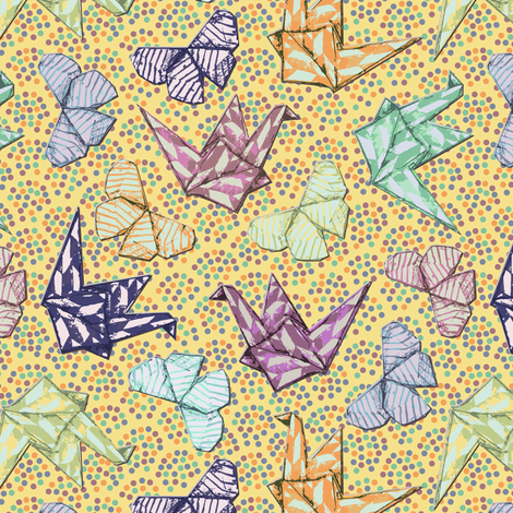 Butterflies and Cranes fabric by samantha_w on Spoonflower - custom fabric
