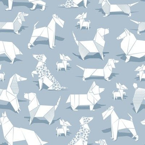 Origami doggie friends // small scale // pastel blue background paper Chihuahuas Dachshunds Corgis Beagles German Shepherds Collies Poodles Terriers Dalmatians