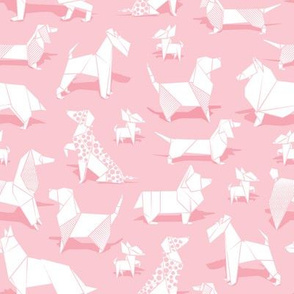 Origami doggie friends // small scale // pastel pink background paper Chihuahuas Dachshunds Corgis Beagles German Shepherds Collies Poodles Terriers Dalmatians