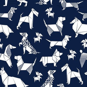 Origami doggie friends // small scale // oxford blue background paper Chihuahuas Dachshunds Corgis Beagles German Shepherds Collies Poodles Terriers Dalmatians