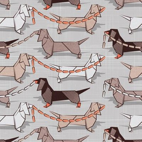 Origami Dachshunds sausage dogs // small scale // grey linen texture background