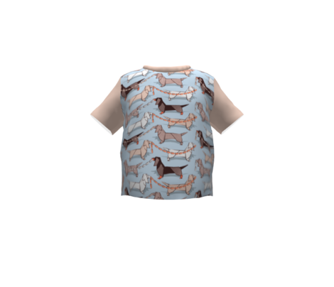 Small scale // Origami Dachshunds sausage dogs // pale blue background