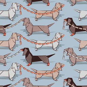 Origami Dachshunds sausage dogs // small scale // pale blue background