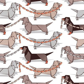 Origami Dachshunds sausage dogs // small scale // white background
