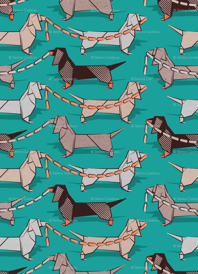 Origami Dachshunds Sausage Dogs Small Scale Turquoise Green