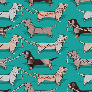 Origami Dachshunds sausage dogs // small scale // turquoise green background