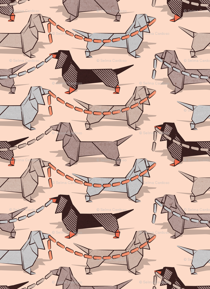 Origami Dachshunds Sausage Dogs Small Scale Flesh Background