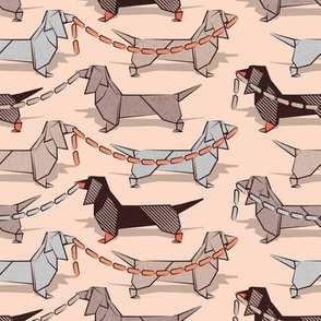 Small scale // Origami Dachshunds sausage dogs // flesh background