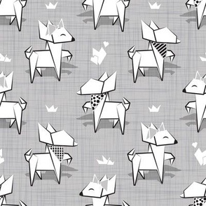 Small scale // Origami Chihuahuas // grey linen texture background white paper dogs