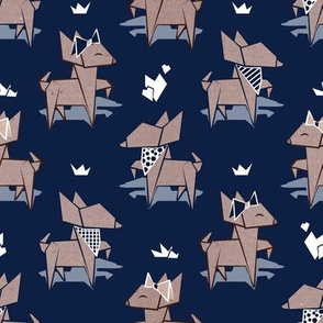 Origami Chihuahuas // small scale // oxford blue background cardboard dogs