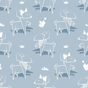 Small scale // Origami Chihuahuas // pastel blue background lined dogs