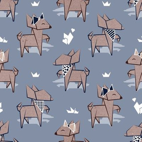 Origami Chihuahuas // small scale // pale blue background cardboard dogs