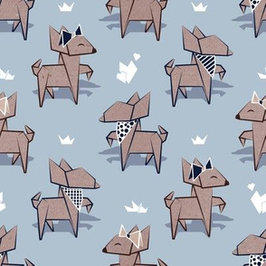 Origami Chihuahuas //  small scale // pastel blue background cardboard dogs
