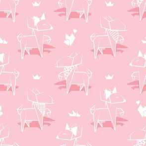 Origami Chihuahuas // small scale // pastel pink background lined dogs