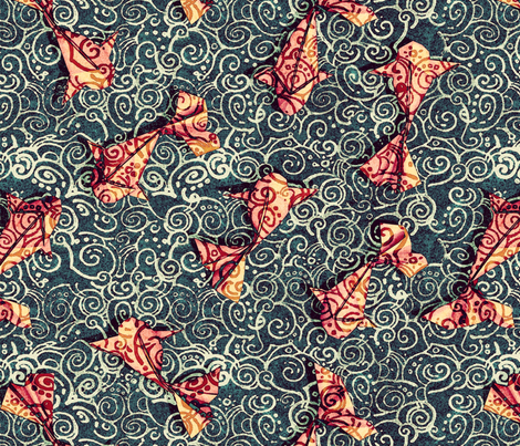 Koi Carp Origami fabric by chicca_besso on Spoonflower - custom fabric