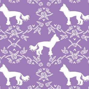 chinese crested dog breed silhouette floral fabric purple