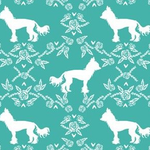 chinese crested dog breed silhouette floral fabric turquoise