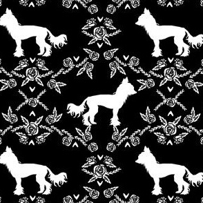 chinese crested dog breed silhouette floral fabric black and white