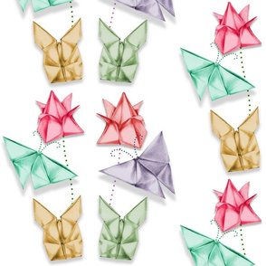origami spring flowers and butterflies and hares