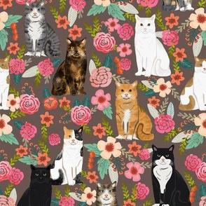 cat florals mixed breeds cats fabric dark