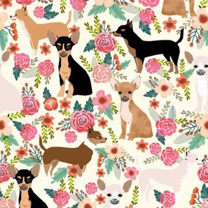 chihuahua dog breed floral pure breed pet fabric cream
