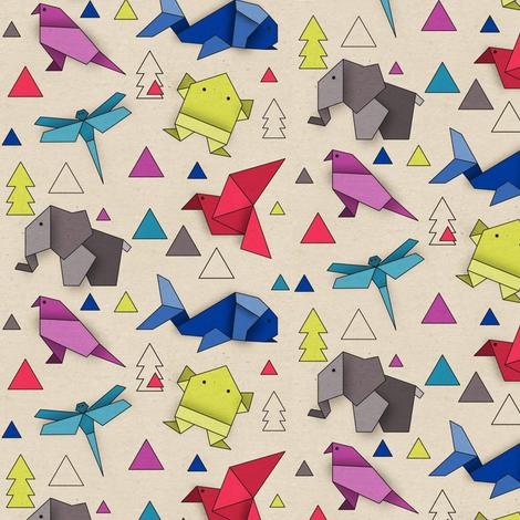 Origami-Animals fabric by linziloop on Spoonflower - custom fabric