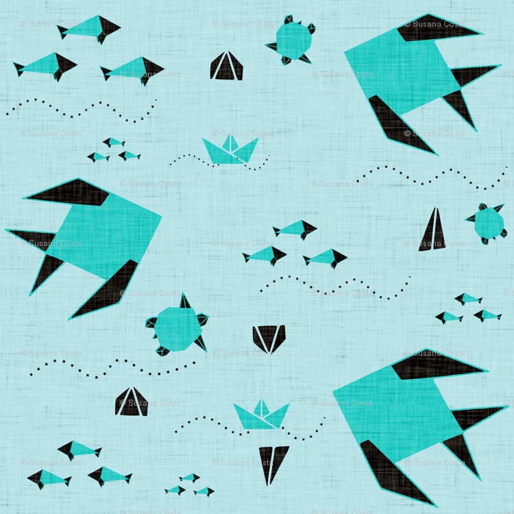 Origami Fish Blue Fabric