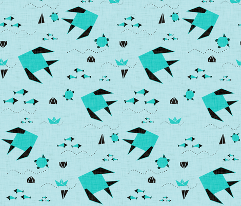 origami fish blue  fabric by bruxamagica on Spoonflower - custom fabric
