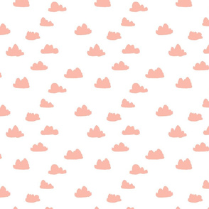 peach clouds fabric // peach and white baby nursery design by andrea lauren