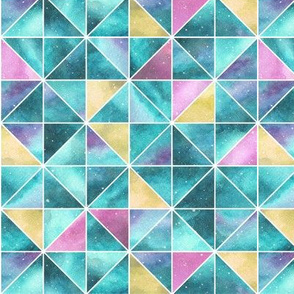 Watercolour Squares and Triangles - teal, pink and yellow