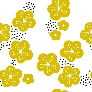 Sweet minimal style cherry blossom spring summer design ochre yellow