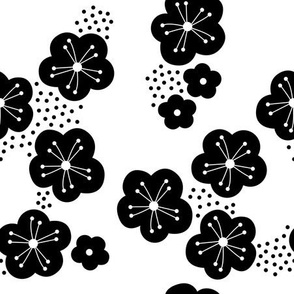 Sweet minimal style cherry blossom spring summer design black and white botanical monochrome
