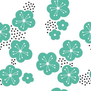 Sweet minimal style cherry blossom spring summer design soft mint green