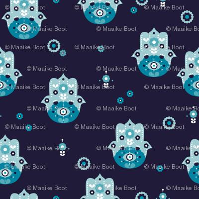 Hamsa arab hand of fatima oriental love pattern design marine blue