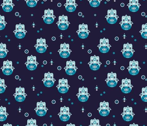 Hamsa arab hand of fatima oriental love pattern design marine blue fabric by littlesmilemakers on Spoonflower - custom fabric