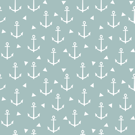 blue anchor design - nautical triangle fabric fabric by charlottewinter on Spoonflower - custom fabric