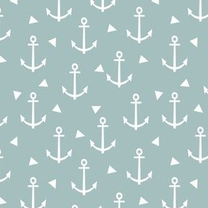 blue anchor design - nautical triangle fabric