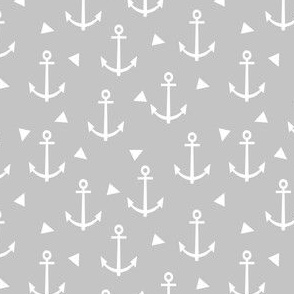 grey anchor design - anchor nautical fabric