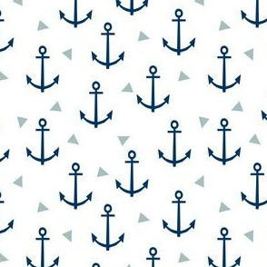anchor triangle fabric - navy and blue anchor
