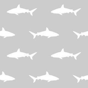 grey and white shark fabric - grey and white nursery baby boy design