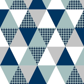 triangle patchwork - crib sheet, crib blanket, baby, triangle quilt, buffalo plaid baby boy navy and blue