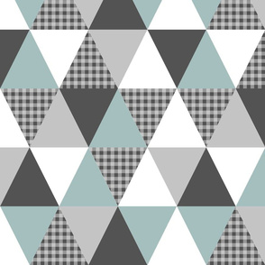 triangle patchwork - crib sheet, crib blanket, baby, triangle quilt, buffalo plaid baby boy
