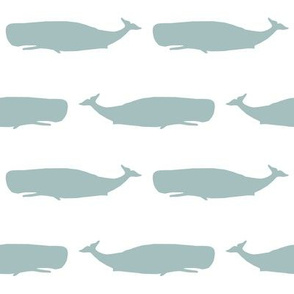 blue whales fabric - blue whale, whales, whale, sperm whale, nautical, ocean