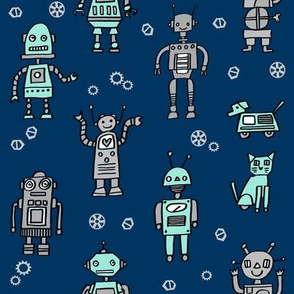 robots // robot fabric kids boy room girls decor gender neutral machines navy