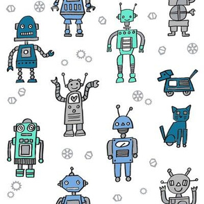 robots // robot fabric kids boy room girls decor gender neutral machines white blues