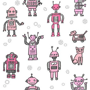 robots // robot fabric kids boy room girls decor gender neutral machines white pink