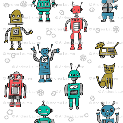 robots // robot fabric kids boy room girls decor gender neutral machines white medium