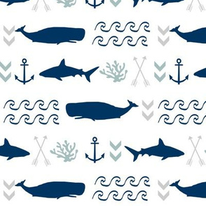 ocean animals - nautical shark, whale, anchor, wave, navy, grey, blue boys baby nursery design