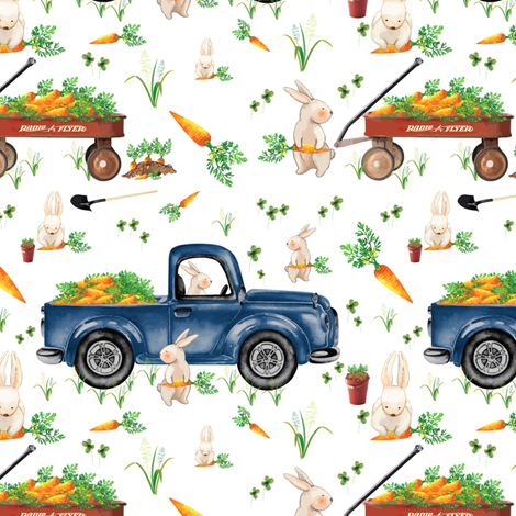 Boy Easter Bunny Trucks and Wagons 6x6 fabric by twodreamsshop on Spoonflower - custom fabric